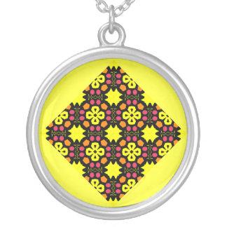 Arte abstracto de la flor del modelo amarillo del colgante redondo