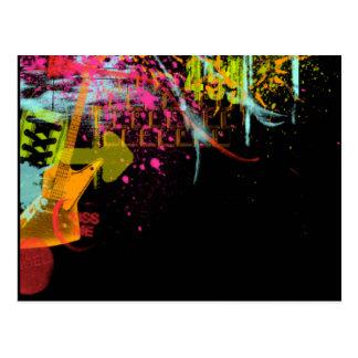 Arte abstracto de la guitarra del arco iris postales