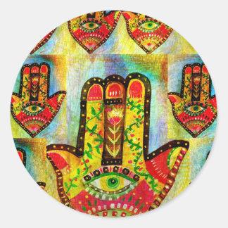 Arte abstracto de la mano de Hamsa Pegatinas Redondas