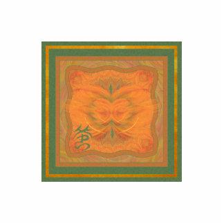 Arte abstracto de la mariposa anaranjada fotoescultura vertical