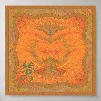 Arte abstracto de la mariposa anaranjada póster