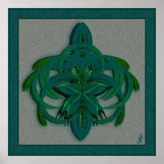 Arte abstracto de la mariposa de pavo real en póster