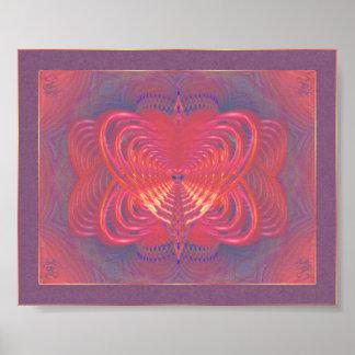 Arte abstracto de la mariposa extranjera póster