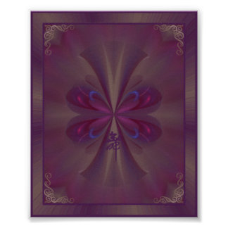 Arte abstracto de la mariposa púrpura póster