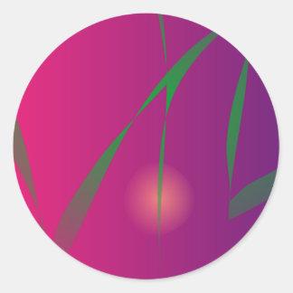Arte abstracto de la noche púrpura doble de la etiqueta redonda