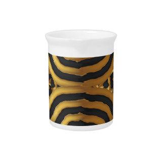 Arte abstracto de la onda de oro del oro en el jarron
