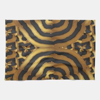 Arte abstracto de la onda de oro del oro en el toalla de mano