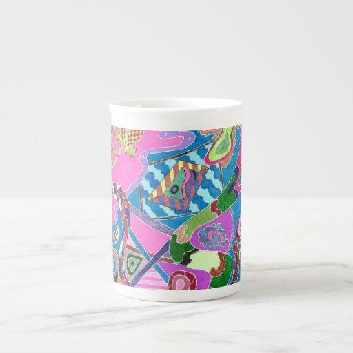 """Arte abstracto de la """"orilla rosada"""" taza de porcelana"""