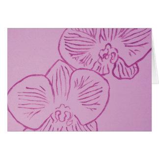 Arte abstracto de la orquídea púrpura tarjeton