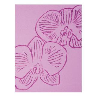 Arte abstracto de la orquídea púrpura postales