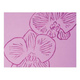 Arte abstracto de la orquídea púrpura postal