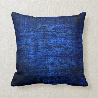 Arte abstracto de la pintura azul del Grunge Cojín