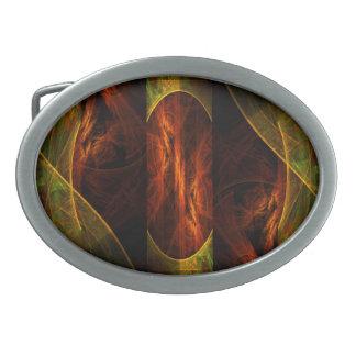 Arte abstracto de la selva de la mística hebilla de cinturón oval