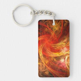 Arte abstracto de la tormenta de fuego llavero rectangular acrílico a doble cara