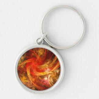Arte abstracto de la tormenta de fuego pequeño llavero redondo plateado