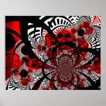 Arte abstracto de la torsión roja de Ventra del po Impresiones