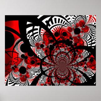 Arte abstracto de la torsión roja de Ventra del Póster