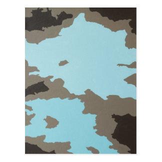 Arte abstracto de la turquesa y de Brown Tarjetas Postales