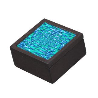 arte abstracto de las azules turquesas caja de recuerdo de calidad