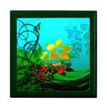 Arte abstracto de las flores, de las vides y de la caja de regalo