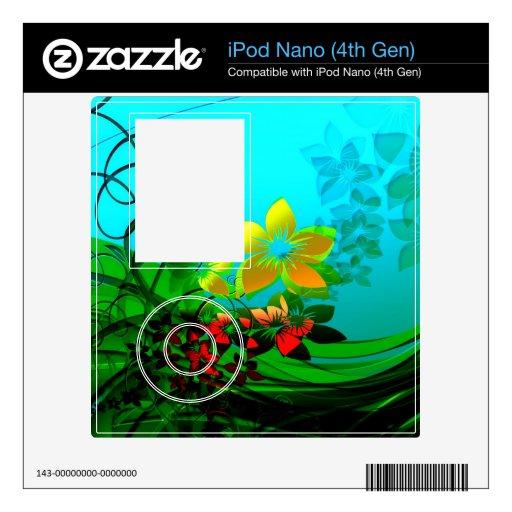 Arte abstracto de las flores, de las vides y de la skin para el iPod nano