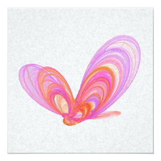 """Arte abstracto de las mariposas rosadas del verano invitación 5.25"""" x 5.25"""""""