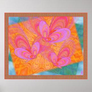Arte abstracto de las mariposas rosadas del verano póster