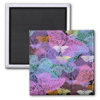 Arte abstracto de las mariposas translúcidas imán cuadrado