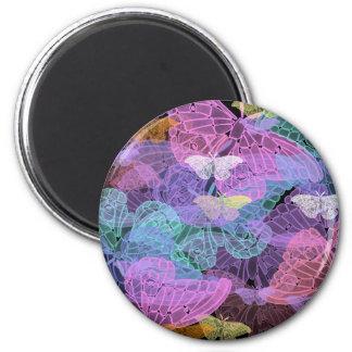 Arte abstracto de las mariposas translúcidas imán redondo 5 cm