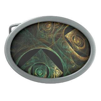Arte abstracto de las vibraciones mágicas hebillas de cinturón ovales