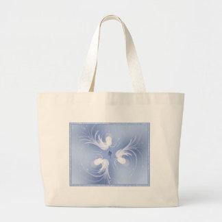 Arte abstracto de los ángeles de la nieve bolsa tela grande