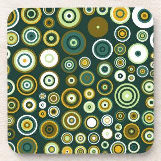 Arte abstracto de los años 50 verdes y blancos del posavasos de bebida