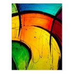 Arte abstracto de los colores brillantes enrrollad postal