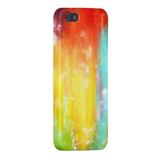 Arte abstracto de los colores verdaderos iPhone 5 cárcasas