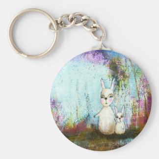 Arte abstracto de los conejos de la escuela, de la llavero personalizado