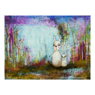 Arte abstracto de los conejos de la escuela, de la póster