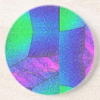 Arte abstracto de los cristales en azul y verde ro posavaso para bebida