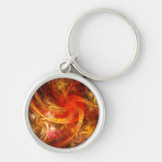 Arte abstracto de Nova de la tormenta de fuego Llavero Redondo Plateado