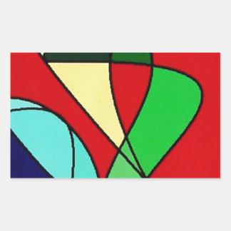 Arte abstracto de Sun del pájaro de mar Pegatina Rectangular
