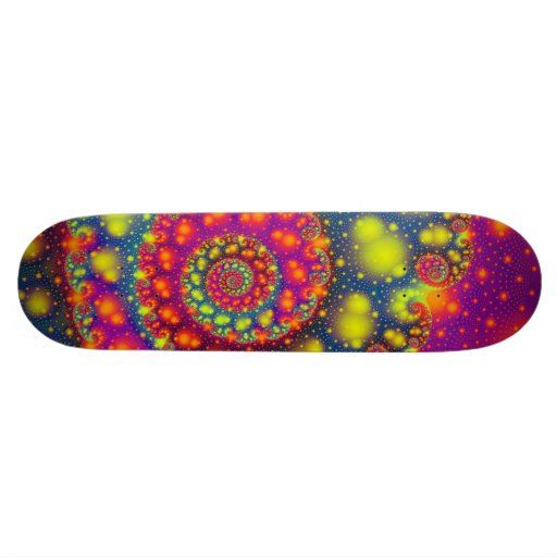 Arte abstracto decorativo de neón espiral psicodél skate board