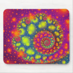 Arte abstracto decorativo de neón espiral psicodél tapete de ratón
