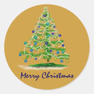 Arte abstracto del árbol de navidad con los etiqueta redonda