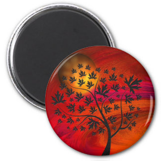 Arte abstracto del árbol y de la luna del otoño imán redondo 5 cm