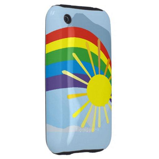 Arte abstracto del arco iris de la sol iPhone 3 tough cárcasa
