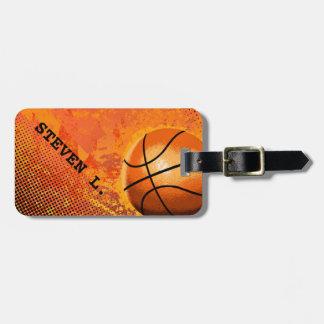 Arte abstracto del baloncesto fresco del Grunge Etiquetas De Equipaje