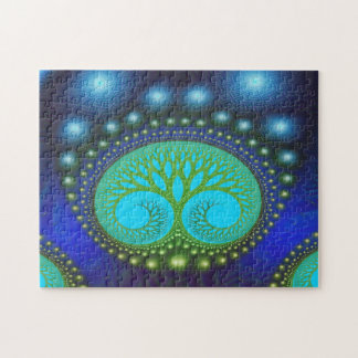 Arte abstracto del bosque del modelo celestial de rompecabezas con fotos