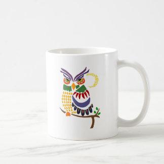 Arte abstracto del búho colorido de la diversión taza