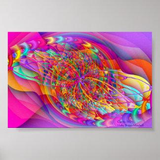 Arte abstracto del cielo del caramelo del fractal póster