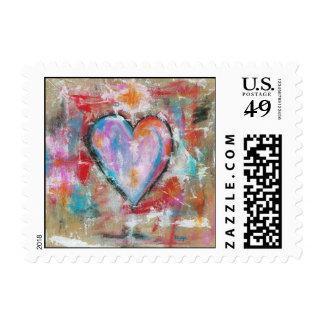 Arte abstracto del corazón imprudente que pinta el sello postal