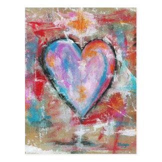 Arte abstracto del corazón imprudente que pinta el tarjetas postales